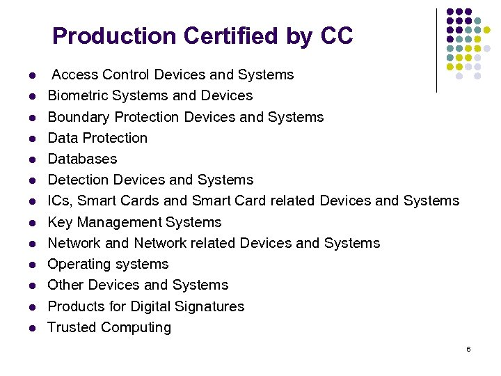 Production Certified by CC l l l l Access Control Devices and Systems Biometric