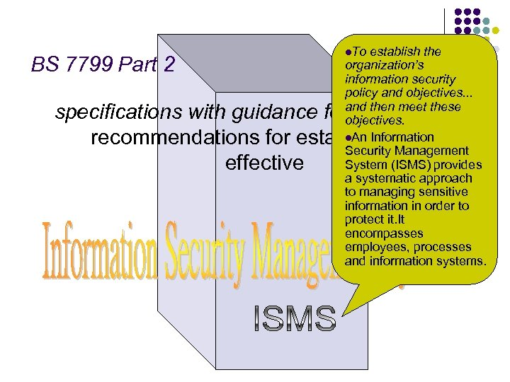BS 7799 Part 2 l. To establish the organization's information security policy and objectives.