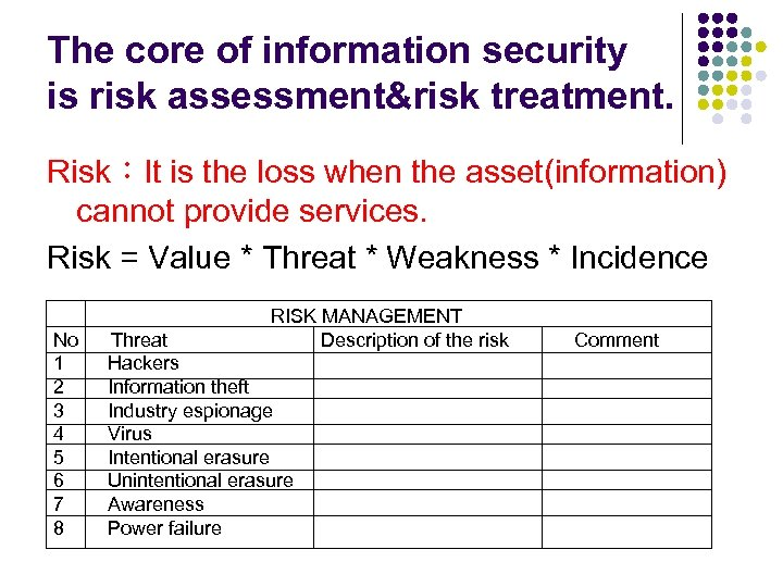 The core of information security is risk assessment&risk treatment. Risk:It is the loss when