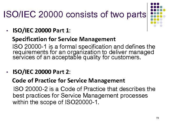 ISO/IEC 20000 consists of two parts ISO/IEC 20000 Part 1: Specification for Service Management