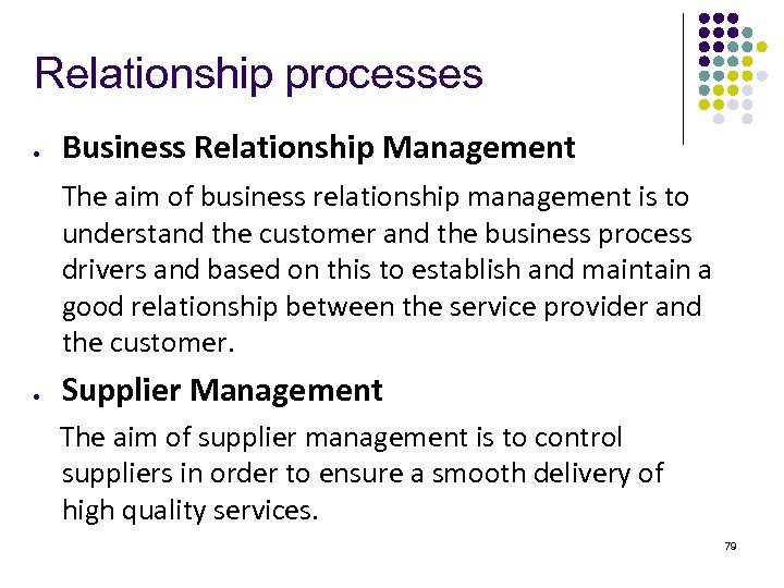Relationship processes l Business Relationship Management The aim of business relationship management is to