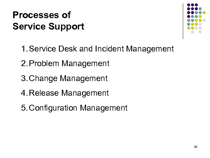 Processes of Service Support 1. Service Desk and Incident Management 2. Problem Management 3.