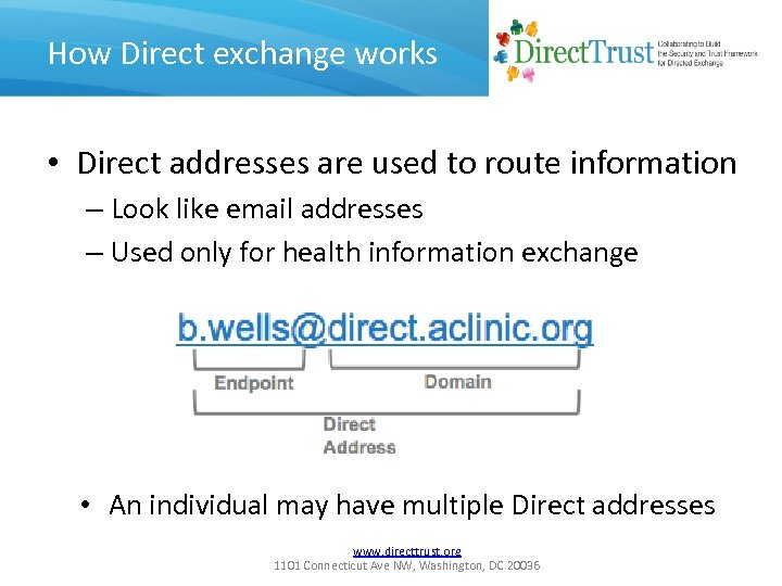 How Direct exchange works • Direct addresses are used to route information – Look