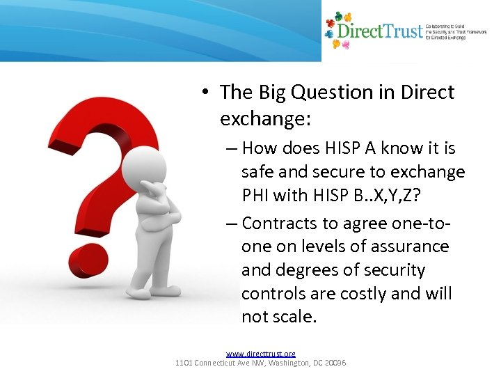 • The Big Question in Direct exchange: – How does HISP A know