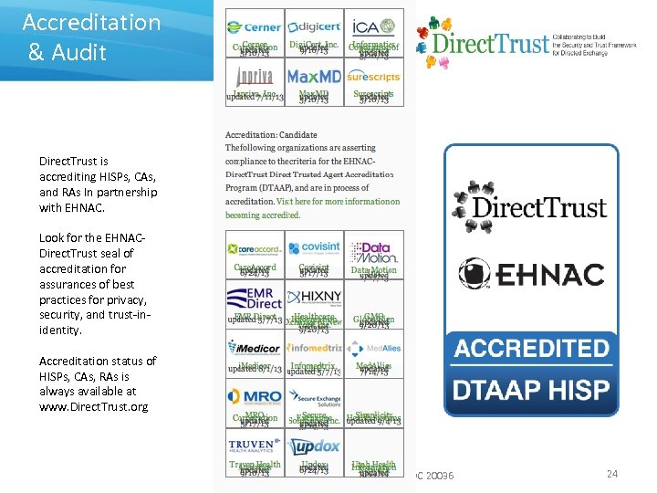 Accreditation & Audit Direct. Trust is accrediting HISPs, CAs, and RAs In partnership