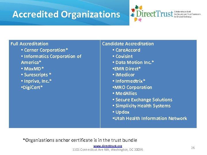 Accredited Organizations Full Accreditation • Cerner Corporation* • Informatics Corporation of America* • Max.