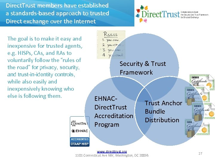 Direct. Trust members have established a standards-based approach to trusted Direct exchange over the