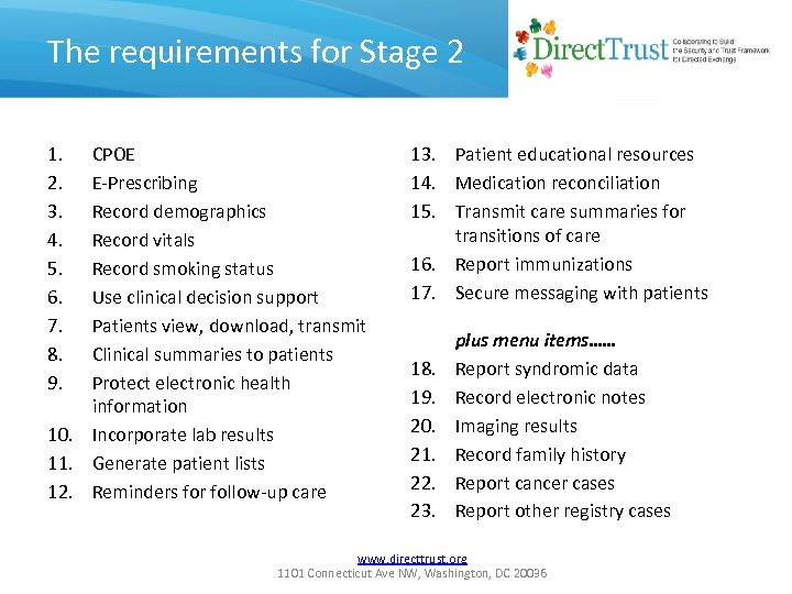 The requirements for Stage 2 1. 2. 3. 4. 5. 6. 7. 8. 9.