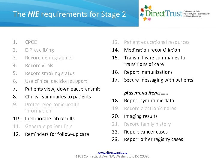 The HIE requirements for Stage 2 1. 2. 3. 4. 5. 6. 7. 8.