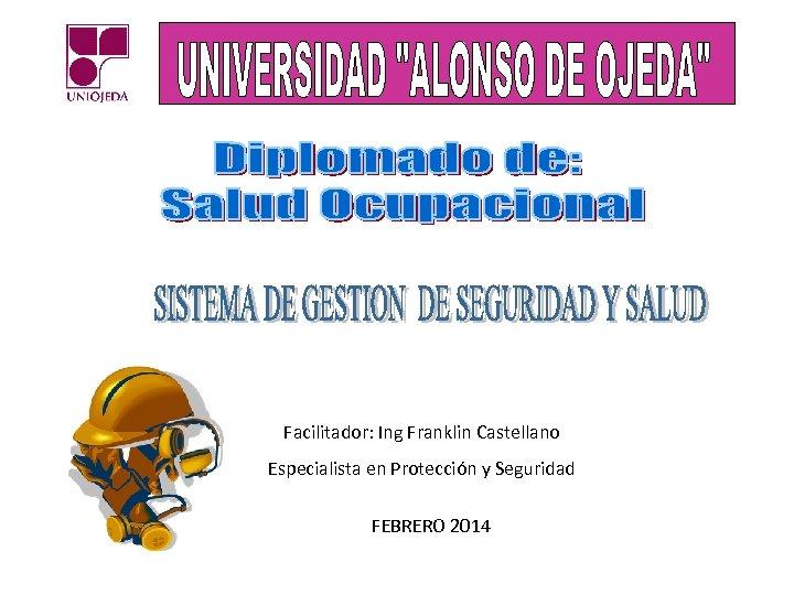 Facilitador: Ing Franklin Castellano Especialista en Protección y Seguridad FEBRERO 2014