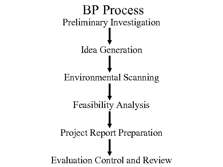 BP Process Preliminary Investigation Idea Generation Environmental Scanning Feasibility Analysis Project Report Preparation Evaluation