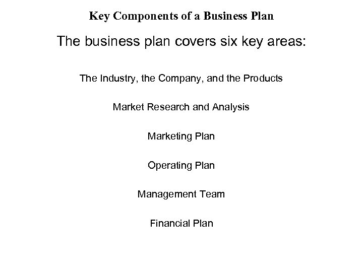 Key Components of a Business Plan The business plan covers six key areas: The