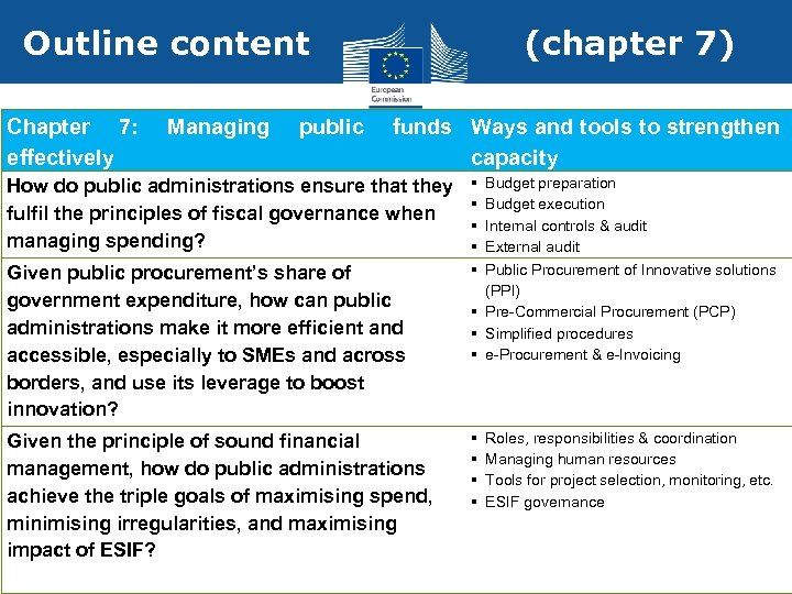 Outline content Chapter 7: effectively Managing public (chapter 7) funds Ways and tools to