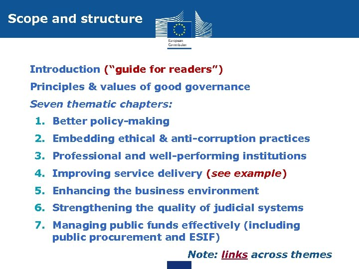 """Scope and structure • Introduction (""""guide for readers"""") • Principles & values of good"""