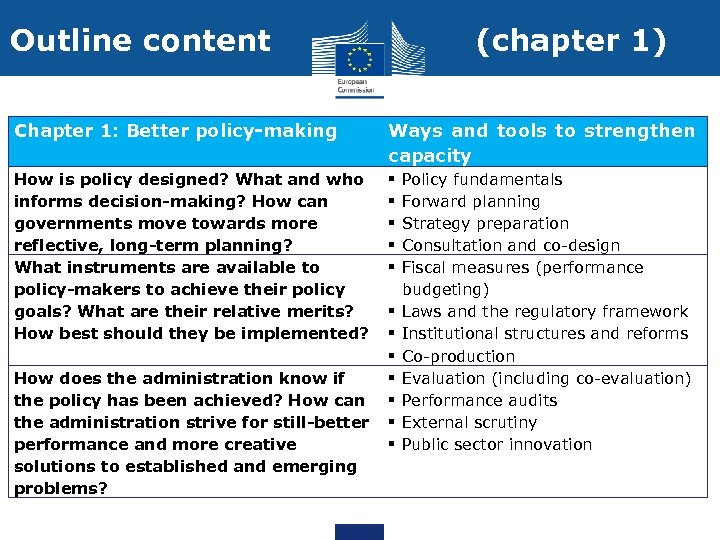 Outline content (chapter 1) Chapter 1: Better policy-making Ways and tools to strengthen capacity
