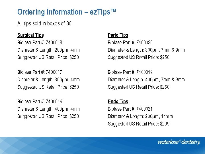Ordering Information – ez. Tips™ All tips sold in boxes of 30 Surgical Tips