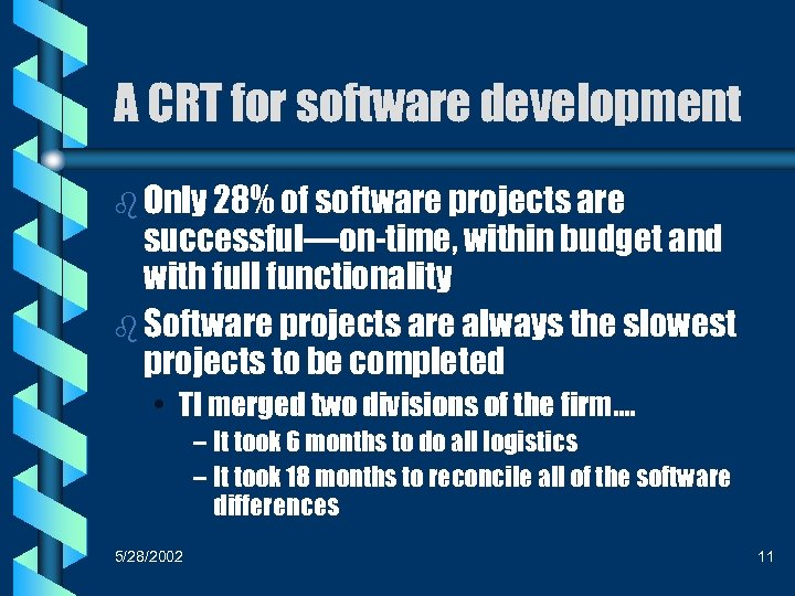 A CRT for software development b Only 28% of software projects are successful—on-time, within