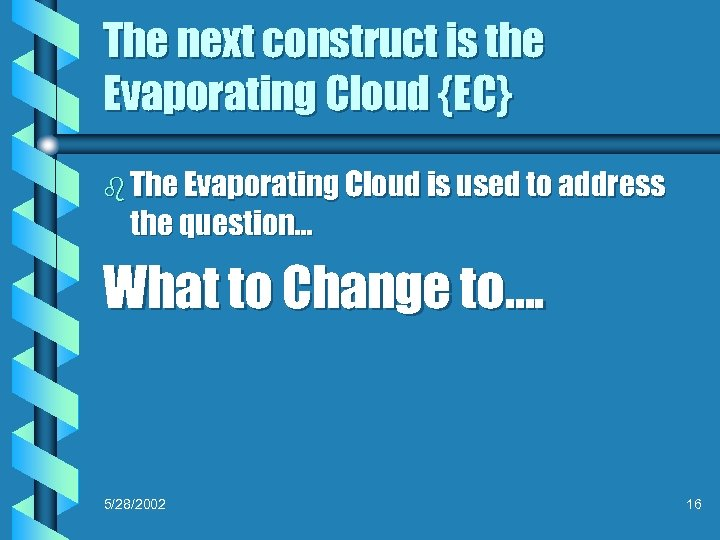 The next construct is the Evaporating Cloud {EC} b The Evaporating Cloud is used