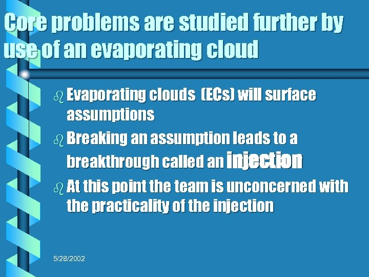 Core problems are studied further by use of an evaporating cloud b Evaporating clouds