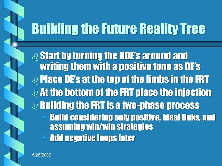 Building the Future Reality Tree b Start by turning the UDE's around and writing