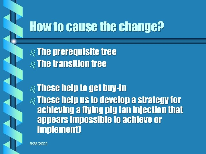 How to cause the change? b The prerequisite tree b The transition tree b