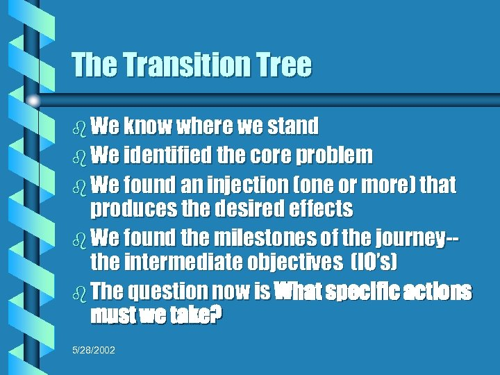 The Transition Tree b We know where we stand b We identified the core