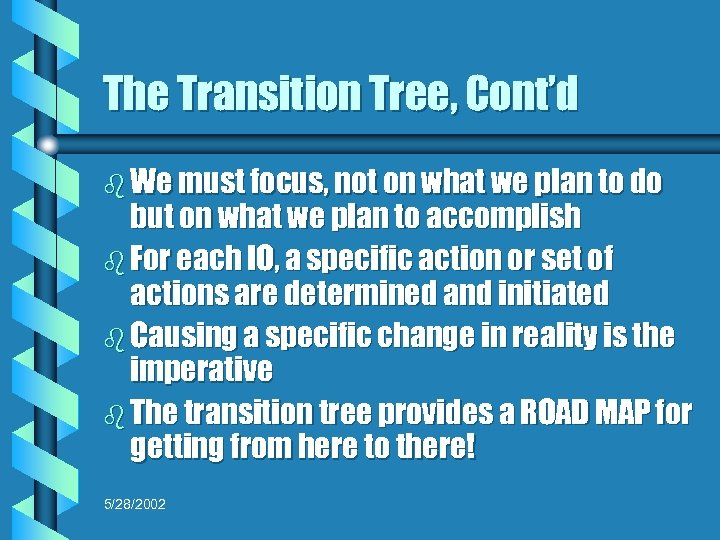 The Transition Tree, Cont'd b We must focus, not on what we plan to