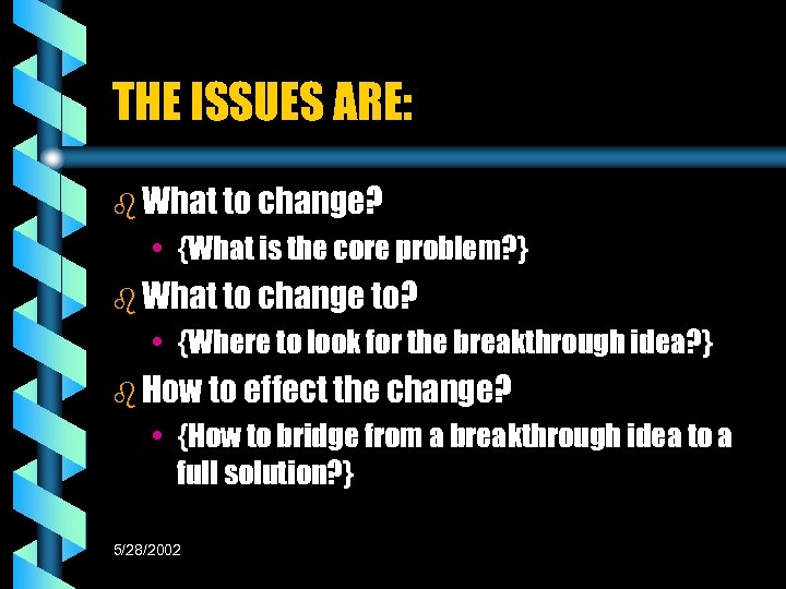 THE ISSUES ARE: b What to change? • {What is the core problem? }
