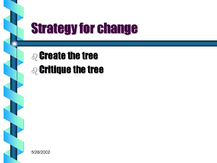 Strategy for change b Create the tree b Critique the tree 5/28/2002