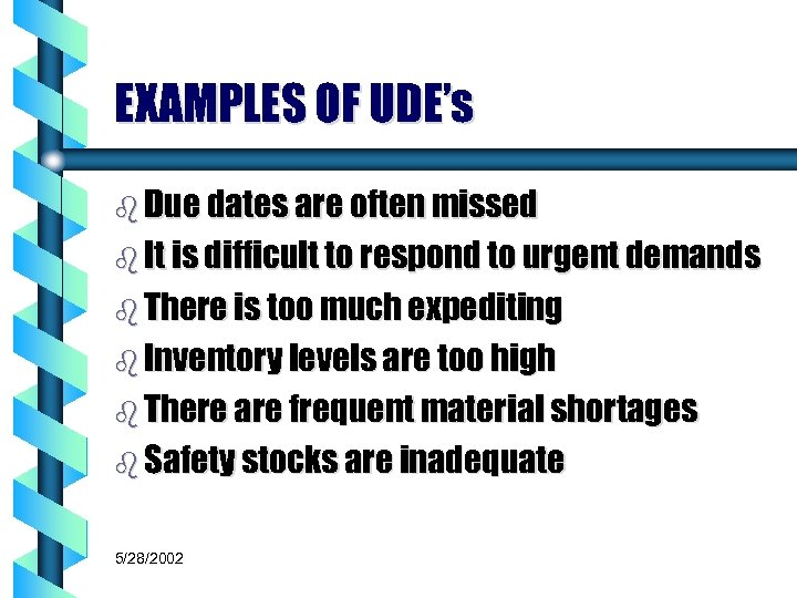 EXAMPLES OF UDE's b Due dates are often missed b It is difficult to