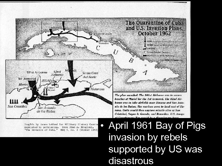 • April 1961 Bay of Pigs invasion by rebels supported by US was