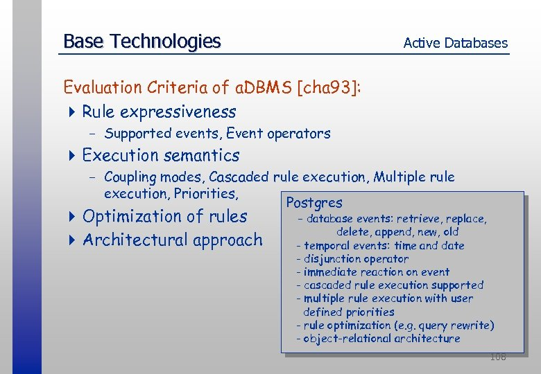Base Technologies Active Databases Evaluation Criteria of a. DBMS [cha 93]: 4 Rule expressiveness