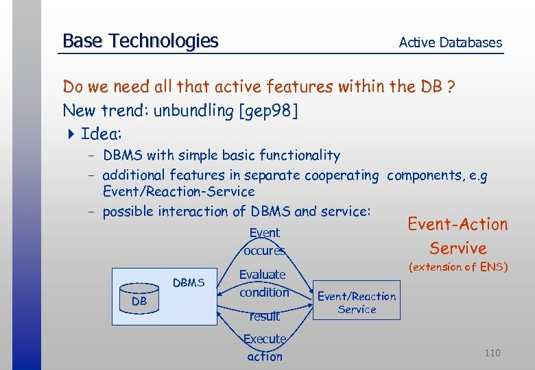 Base Technologies Active Databases Do we need all that active features within the DB