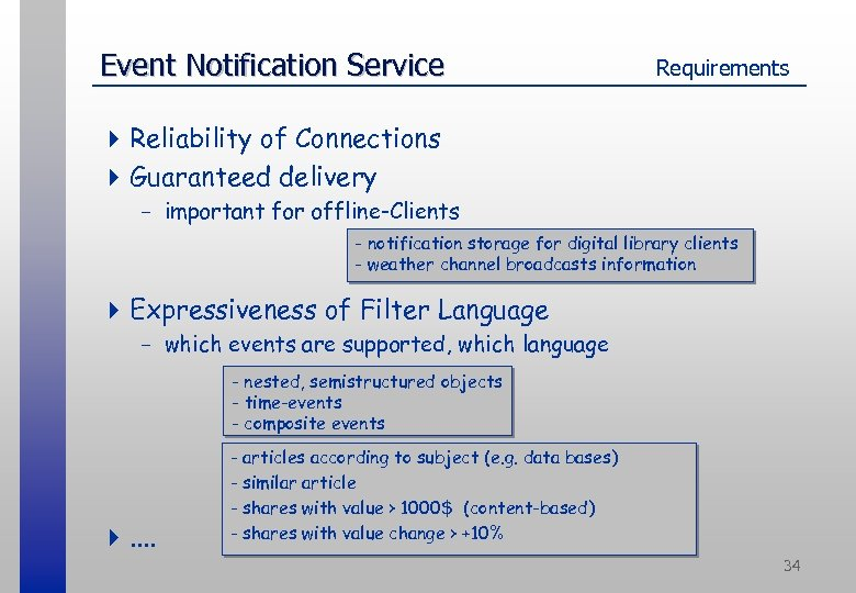 Event Notification Service Requirements 4 Reliability of Connections 4 Guaranteed delivery - important for