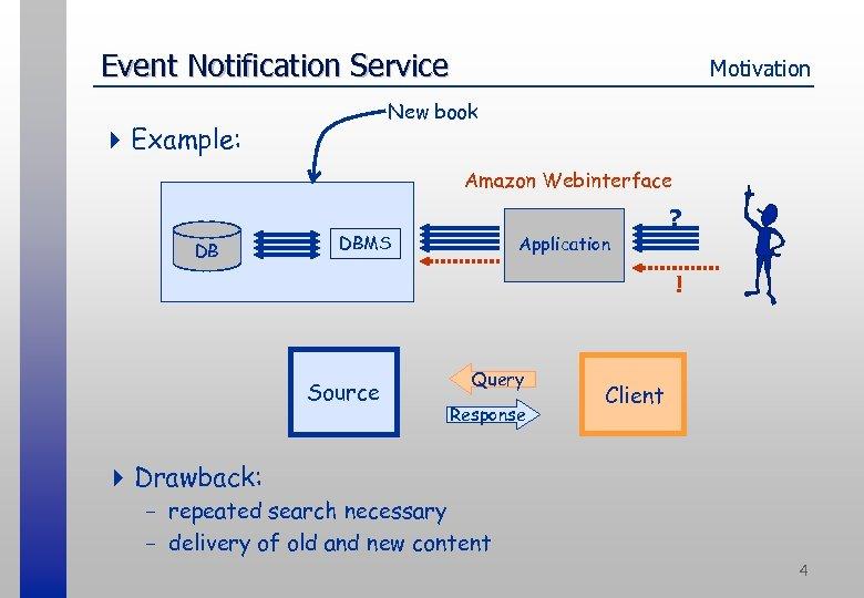 Event Notification Service Motivation New book 4 Example: Amazon Webinterface DB ? DBMS Application