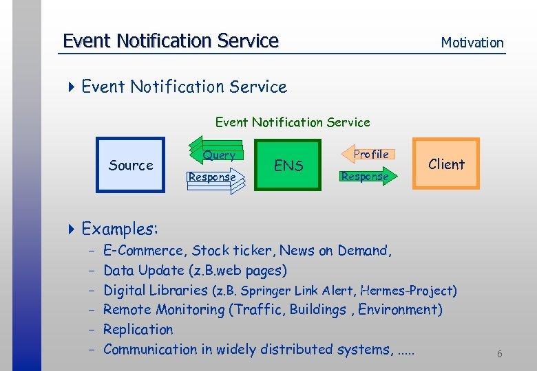Event Notification Service Motivation 4 Event Notification Service Source Query Response ENS Profile Response