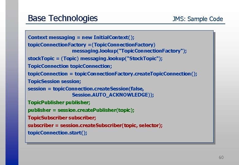 Base Technologies JMS: Sample Code Context messaging = new Initial. Context(); topic. Connection. Factory