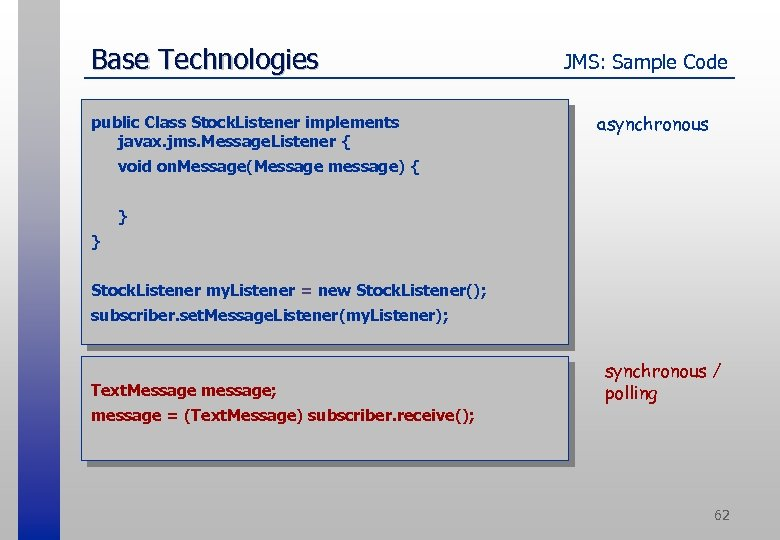 Base Technologies public Class Stock. Listener implements javax. jms. Message. Listener { JMS: Sample