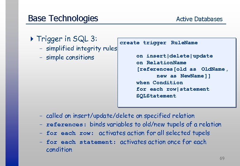 Base Technologies 4 Trigger in SQL 3: - simplified integrity rules - simple consitions
