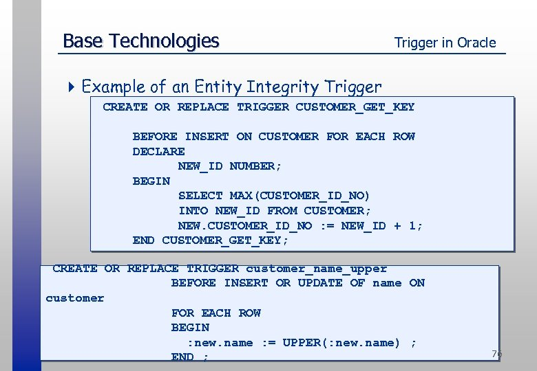 Base Technologies Trigger in Oracle 4 Example of an Entity Integrity Trigger CREATE OR
