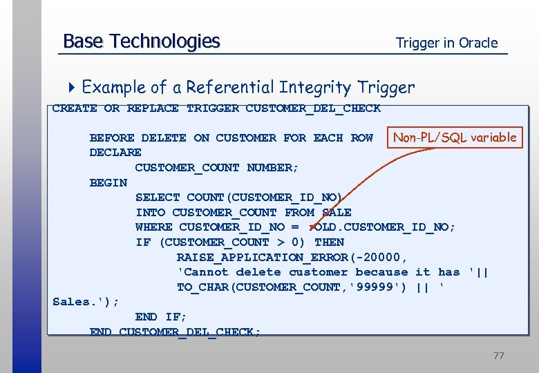 Base Technologies Trigger in Oracle 4 Example of a Referential Integrity Trigger CREATE OR