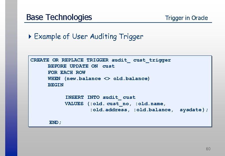 Base Technologies Trigger in Oracle 4 Example of User Auditing Trigger CREATE OR REPLACE