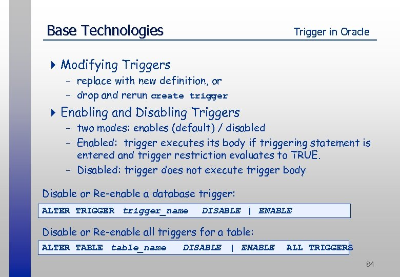 Base Technologies Trigger in Oracle 4 Modifying Triggers - replace with new definition, or