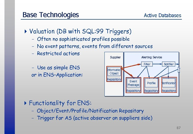 Base Technologies Active Databases 4 Valuation (DB with SQL: 99 Triggers) - Often no