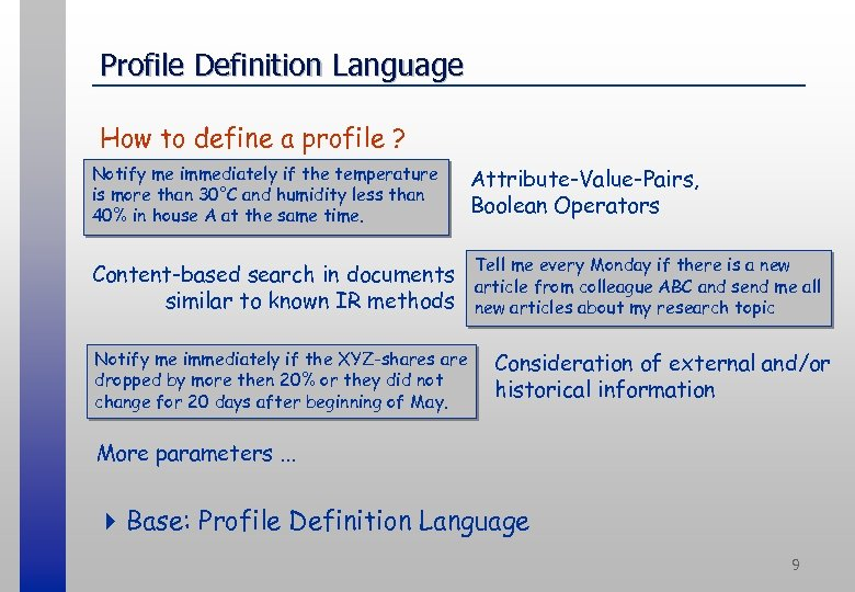 Profile Definition Language How to define a profile ? Notify me immediately if the