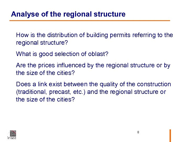 Analyse of the regional structure How is the distribution of building permits referring to