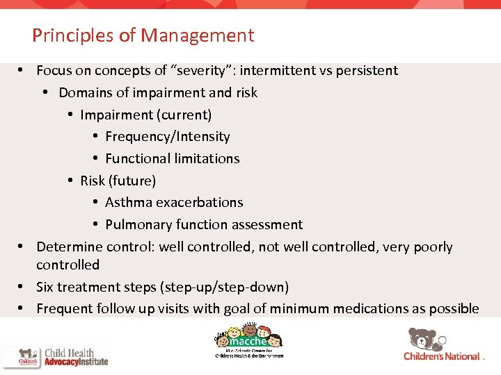 """Principles of Management • Focus on concepts of """"severity"""": intermittent vs persistent • Domains"""