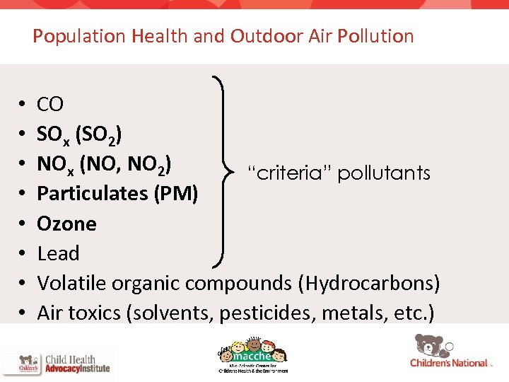 Population Health and Outdoor Air Pollution • • CO SOx (SO 2) NOx (NO,