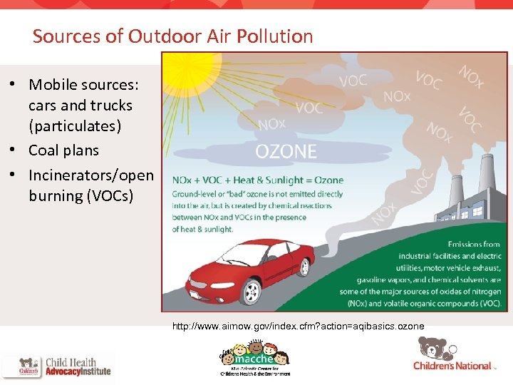 Sources of Outdoor Air Pollution • Mobile sources: cars and trucks (particulates) • Coal