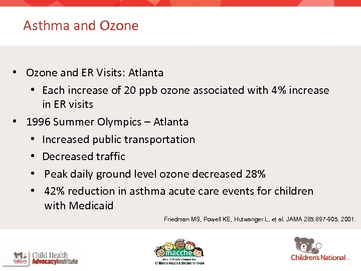 Asthma and Ozone • Ozone and ER Visits: Atlanta • Each increase of 20
